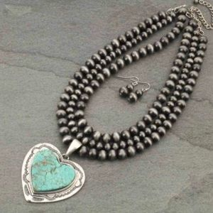 Turquoise Natural Stone Heart Pendant Necklace
